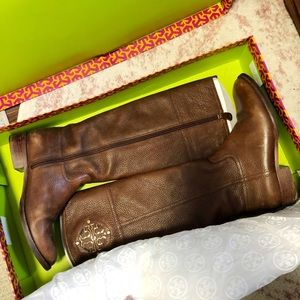 Tory Burch Kieran 7.5 Brown Leather Riding Boots